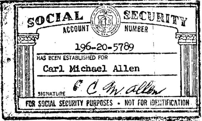 Carl Allen SSN Card