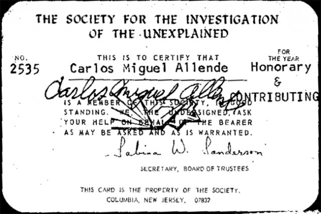 Carl Allen Society for the Investigation of the Unexplained Card