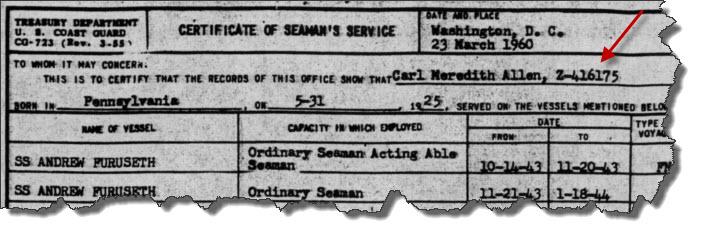 Carl Allen's Certificate of Seaman's Service