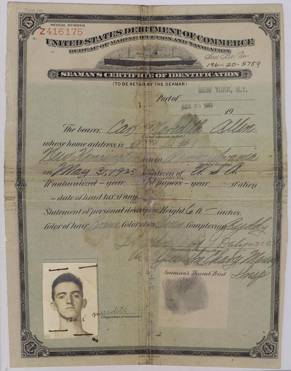 Carl Allen's Seaman's Certificate of Identification, August 20, 1943