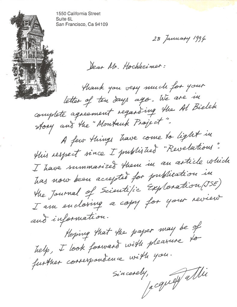 Letter from Jacques Vallée to Me on Jan 28th, 1944