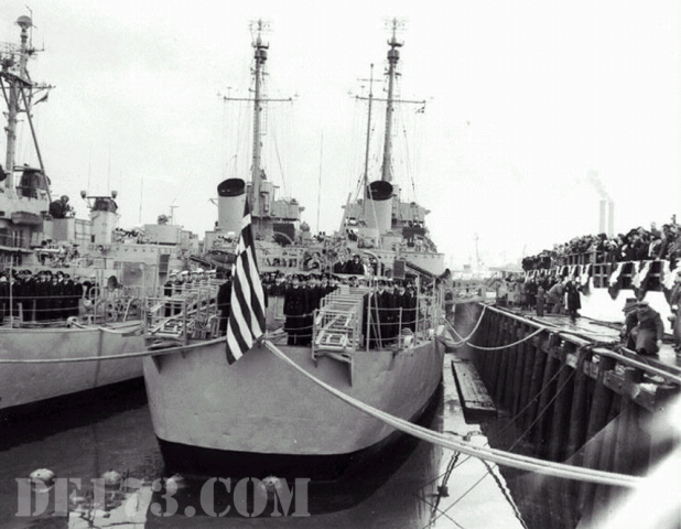 Ceremony at the Boston Naval Shipyard, Massachusetts, transferring the ships to the Royal Hellenic Navy 1951, Jan 15th