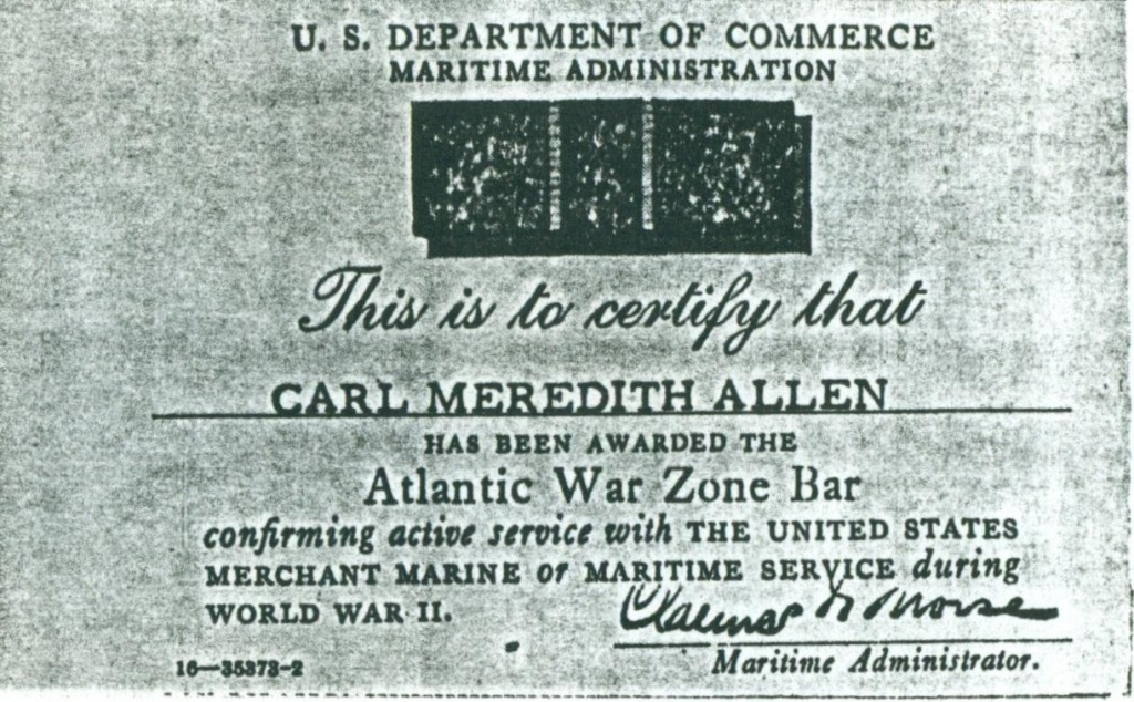 (RG) Atlantic War Zone Bar Awarded To Carl Meredith Allen
