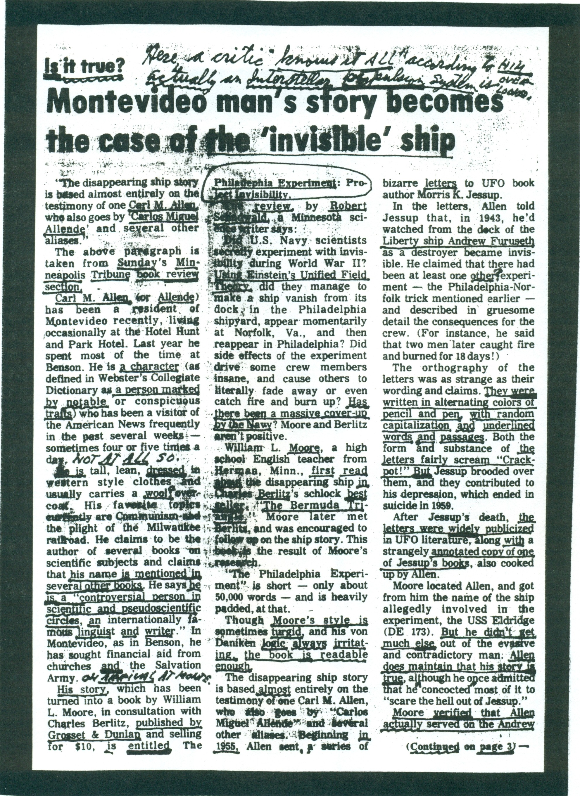 (RG) June-28, 1979 Article from the Montevideo Minnesota American News - Annotated by Carl Allen