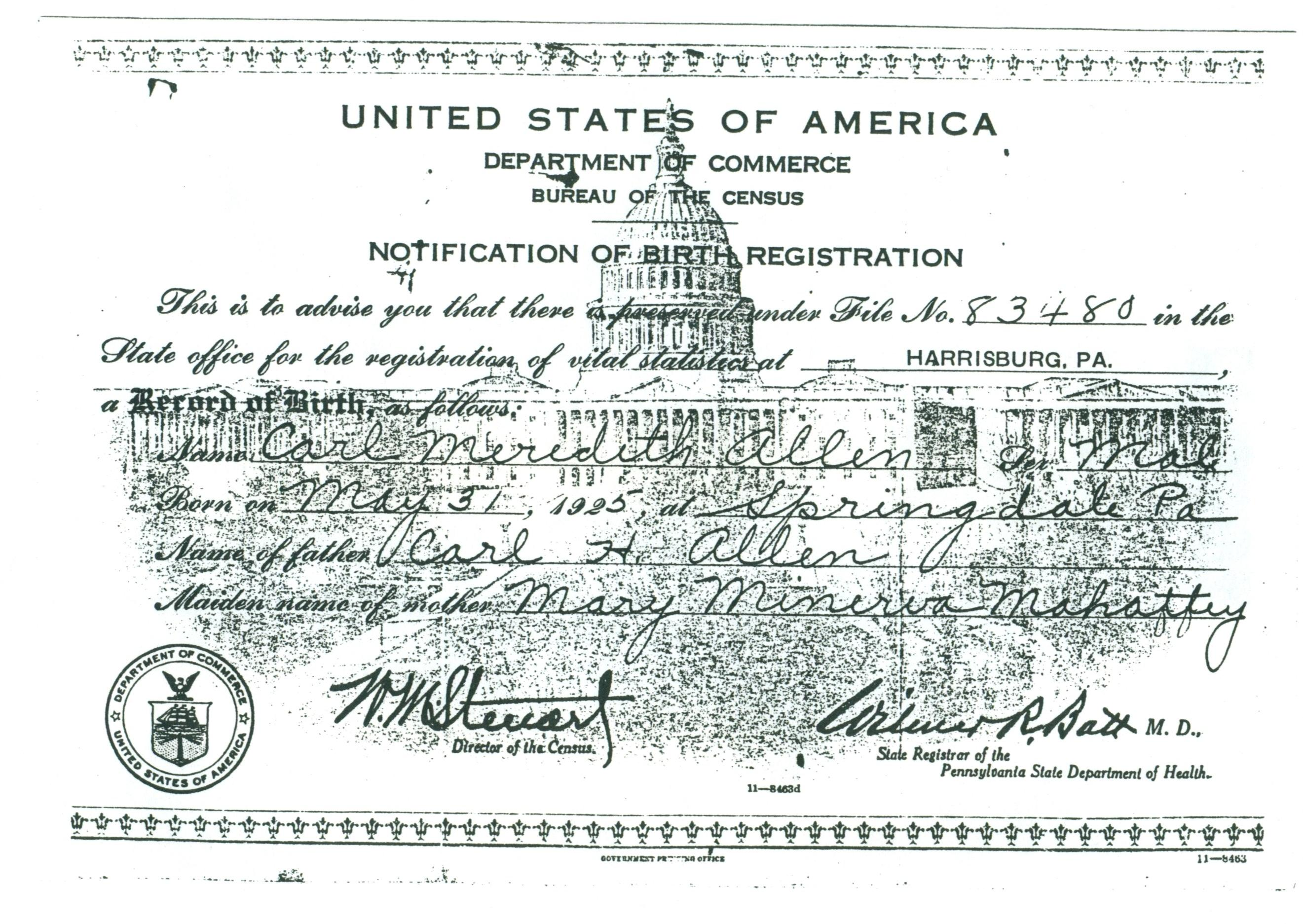 (RG) May-31, 1925 Notice of Birth Registration for Carl Meredith Allen aka Carlos Miguel Allende