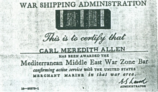(RG) Mediterranean Middle East War Zone Bar Awarded To Carl Meredith Allen