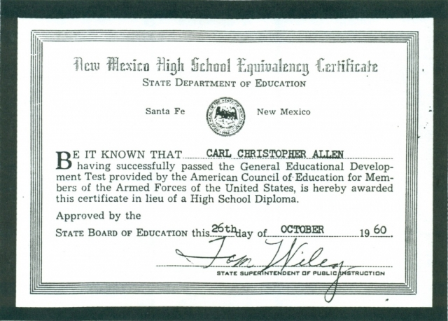 (RG) October-26,1960, GED Certificate for Carl Christopher Allen