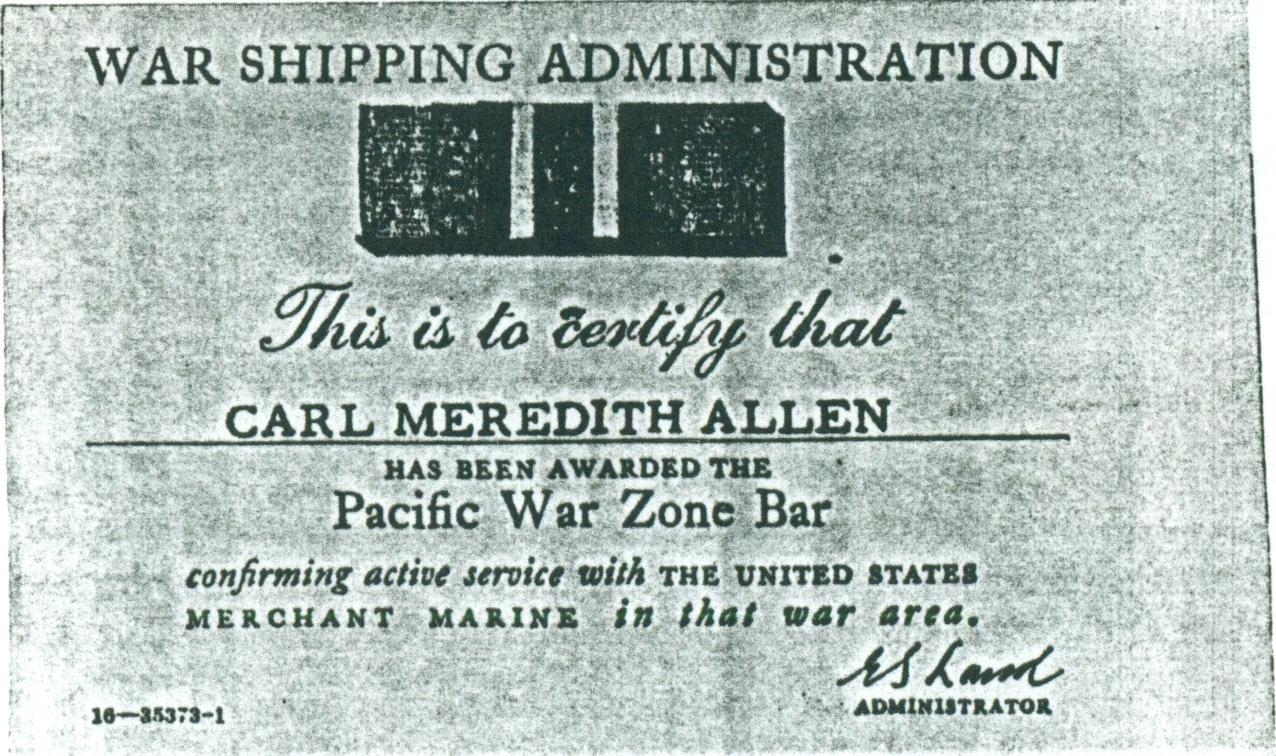 (RG) Pacific War Zone Bar Awarded To Carl Meredith Allen