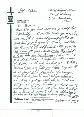 (RG) September-1981, Letter From Carl Allen