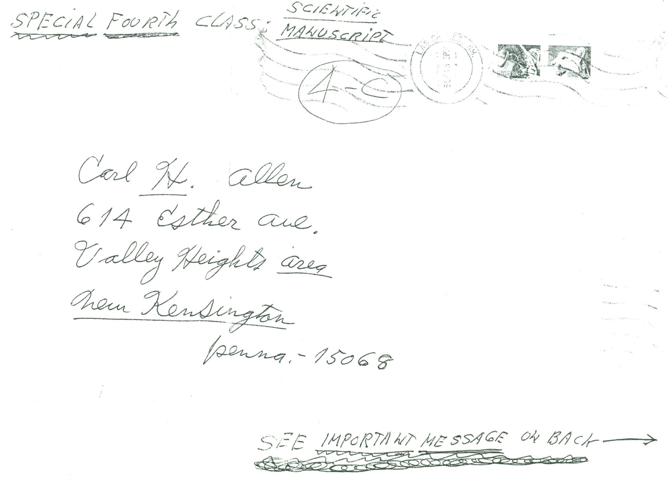 (RG) September-1981, Scientific Manuscript Envelope from Carl Allen to his father