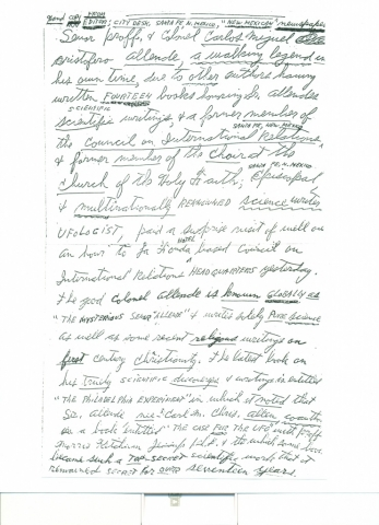 (RG) Undated Handwritten Press Release Written by Carl Allen
