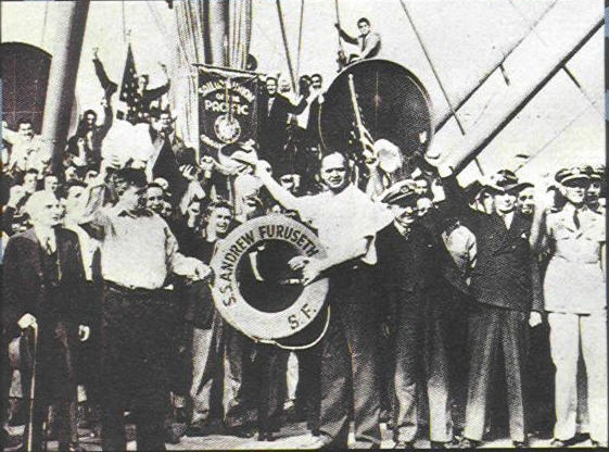 Officers and Crew of the SS Andrew Furuseth togther with visiting officials