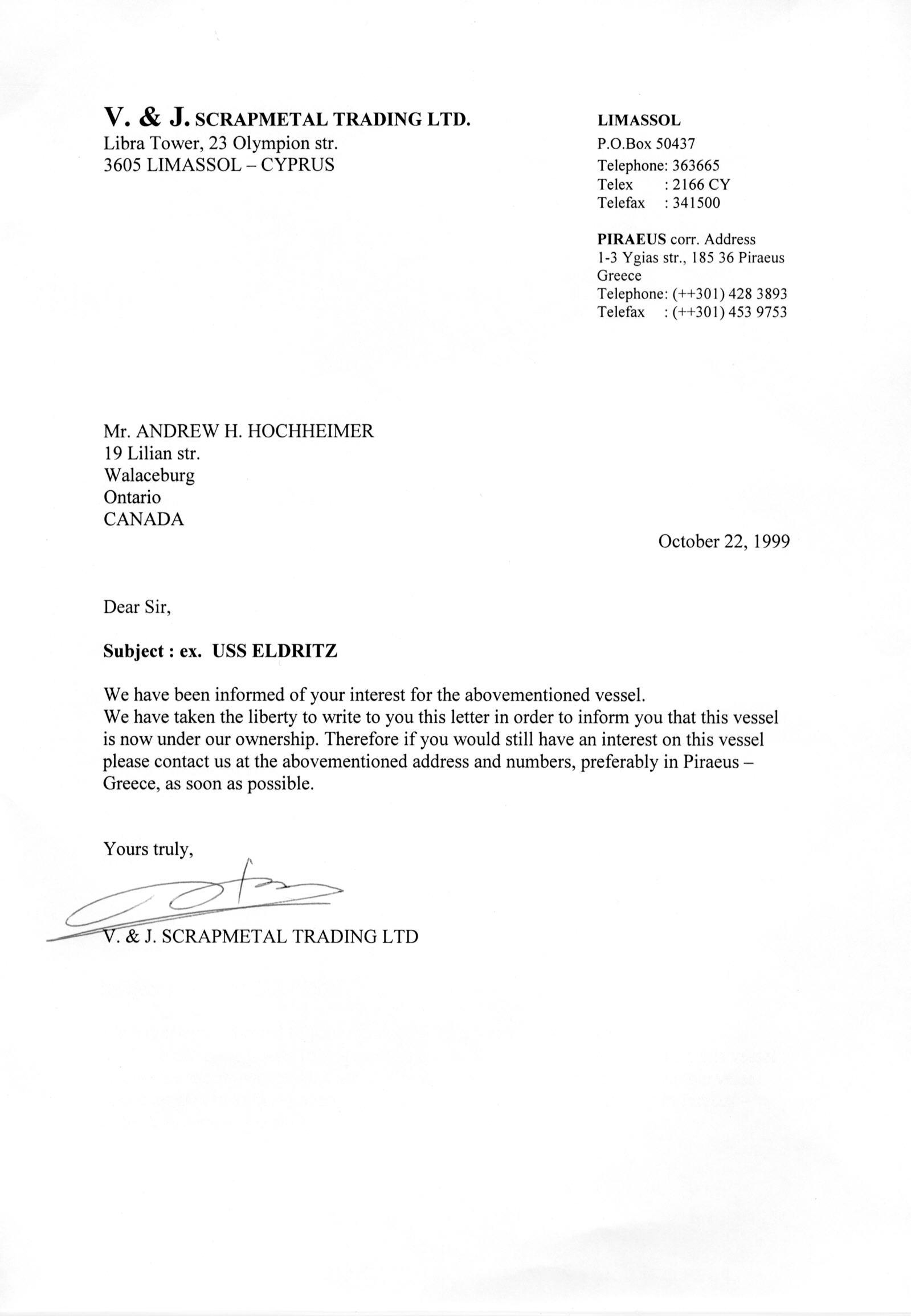 Scrapmetal Trading Ltd, Letter to Andrew Hochheimer, 1999, Oct 22