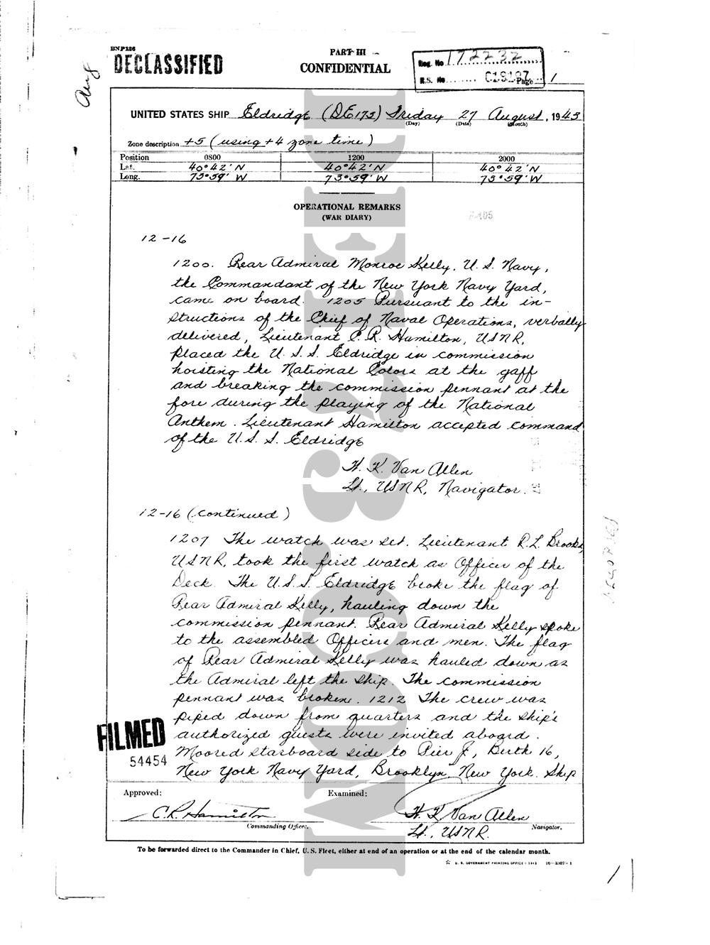 USS Eldridge Microfilm Page 001 / August 27th, 1943