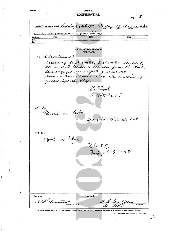 USS Eldridge Microfilm Page 002 / August 27th, 1943