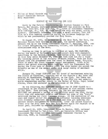 USS Eldridge History P1