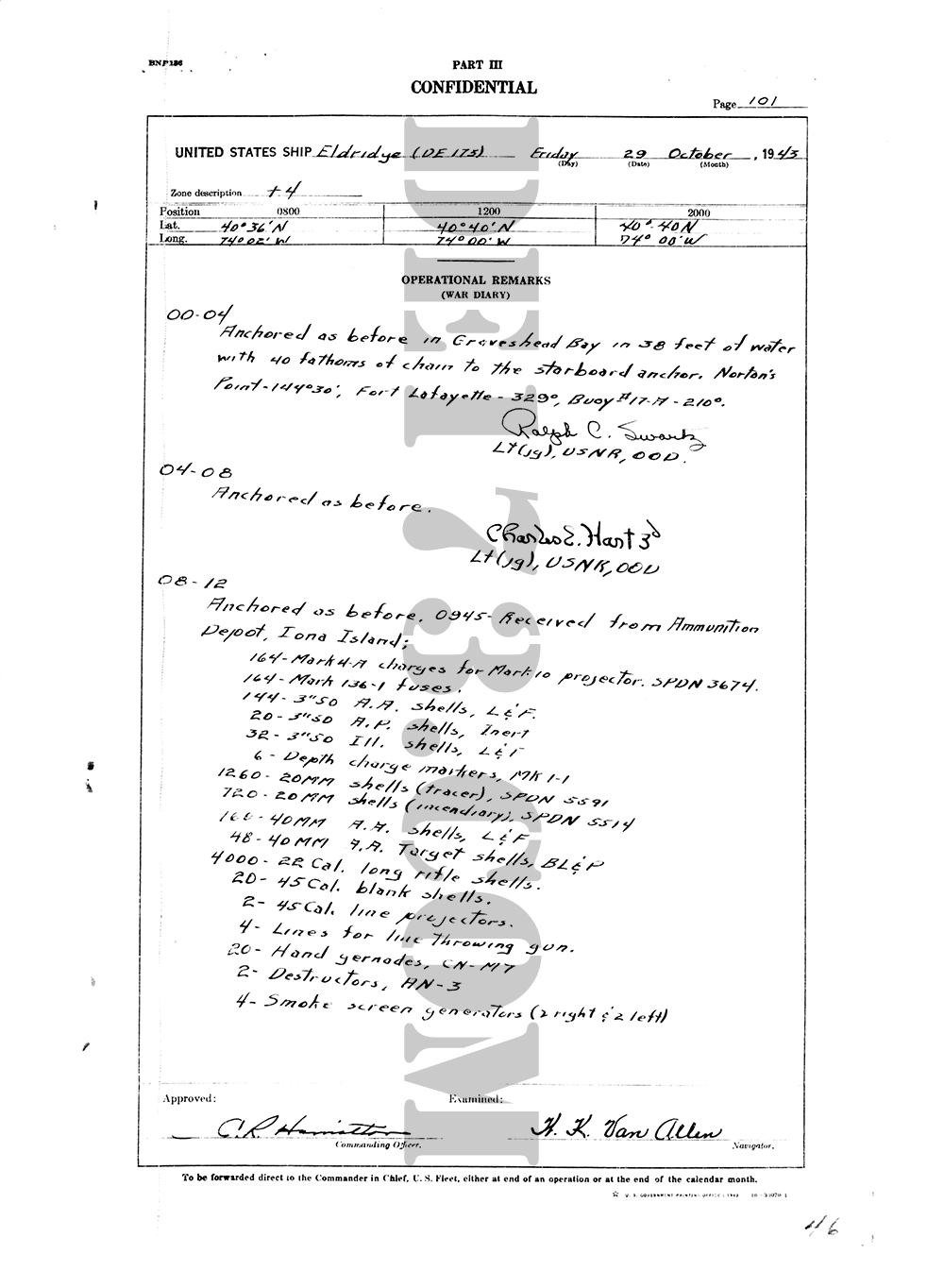 USS Eldridge Microfilm Page 101 / October 29th, 1943
