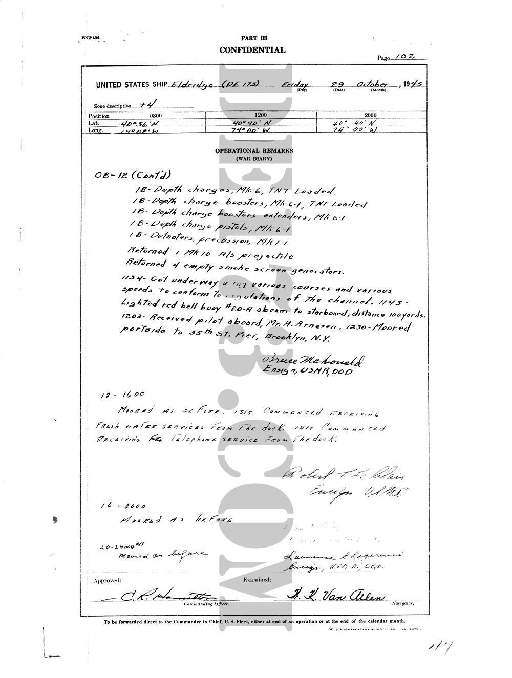USS Eldridge Microfilm Page 102 / October 29th, 1943