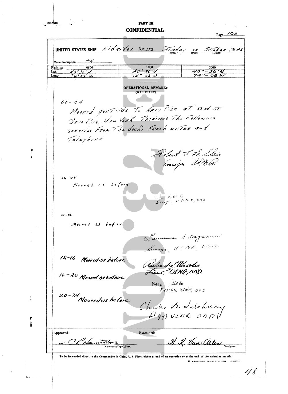 USS Eldridge Microfilm Page 103 / October 30th, 1943