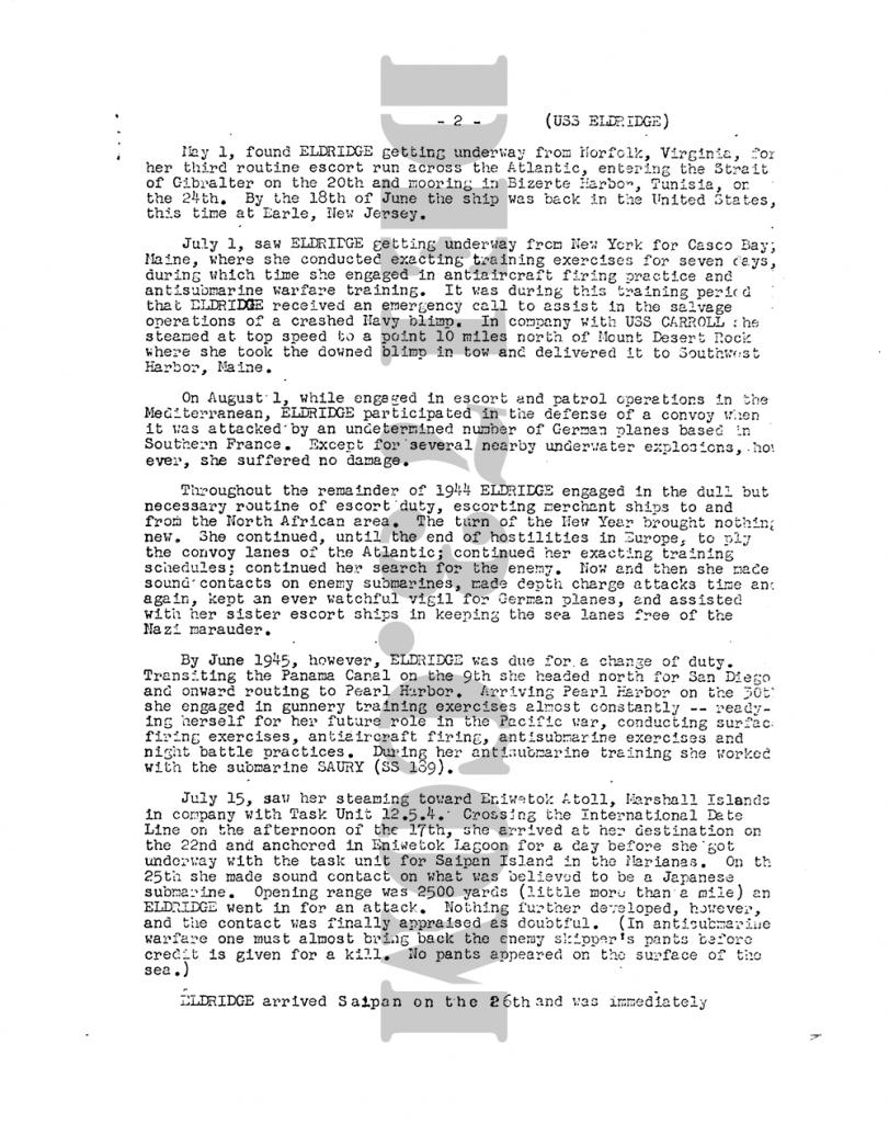 USS Eldridge History P2