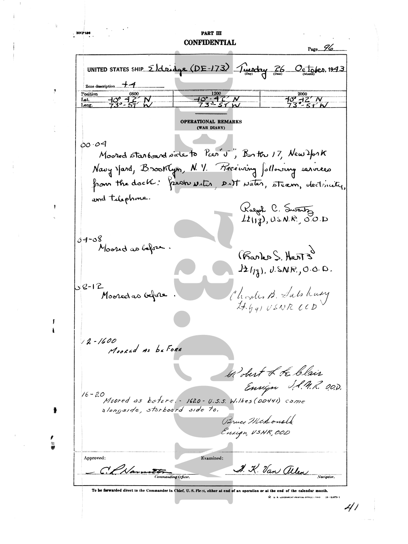 USS Eldridge Microfilm Page 96 / October 26th, 1943