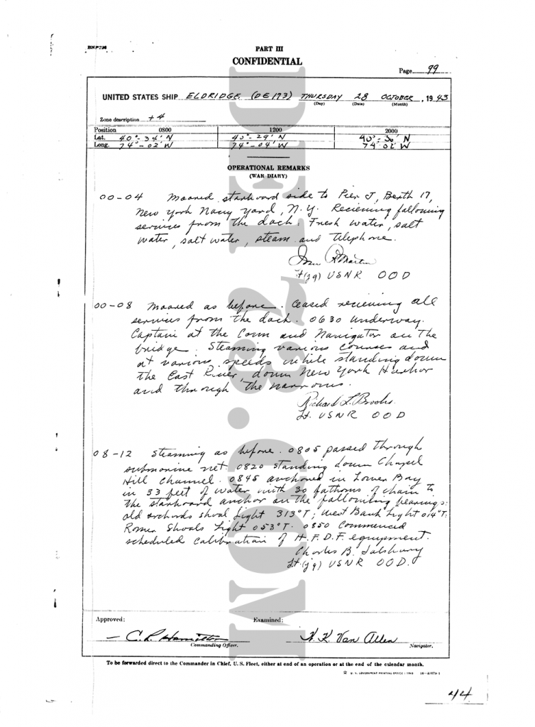 USS Eldridge Microfilm Page 099 / October 28th, 1943 (The Day Of The Experiment / Carl Allen)