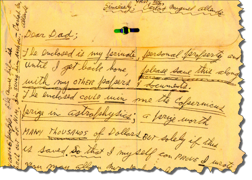 Sample of Carl Allen's Writing Style ~ Scientific Manuscript Envelope from Carl Allen to his father, Sep 1981