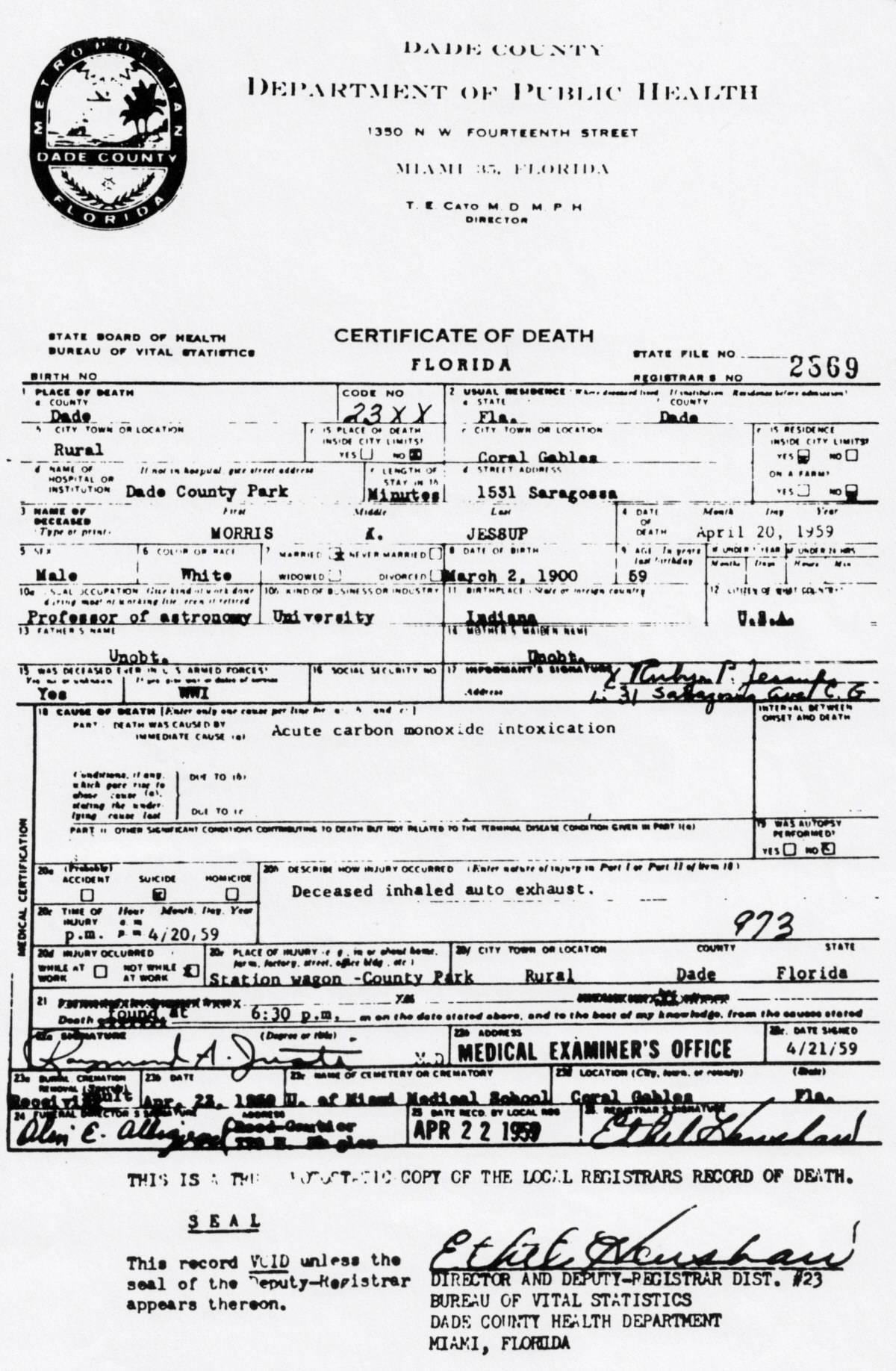 Morris K. Jessup's Death Certificate