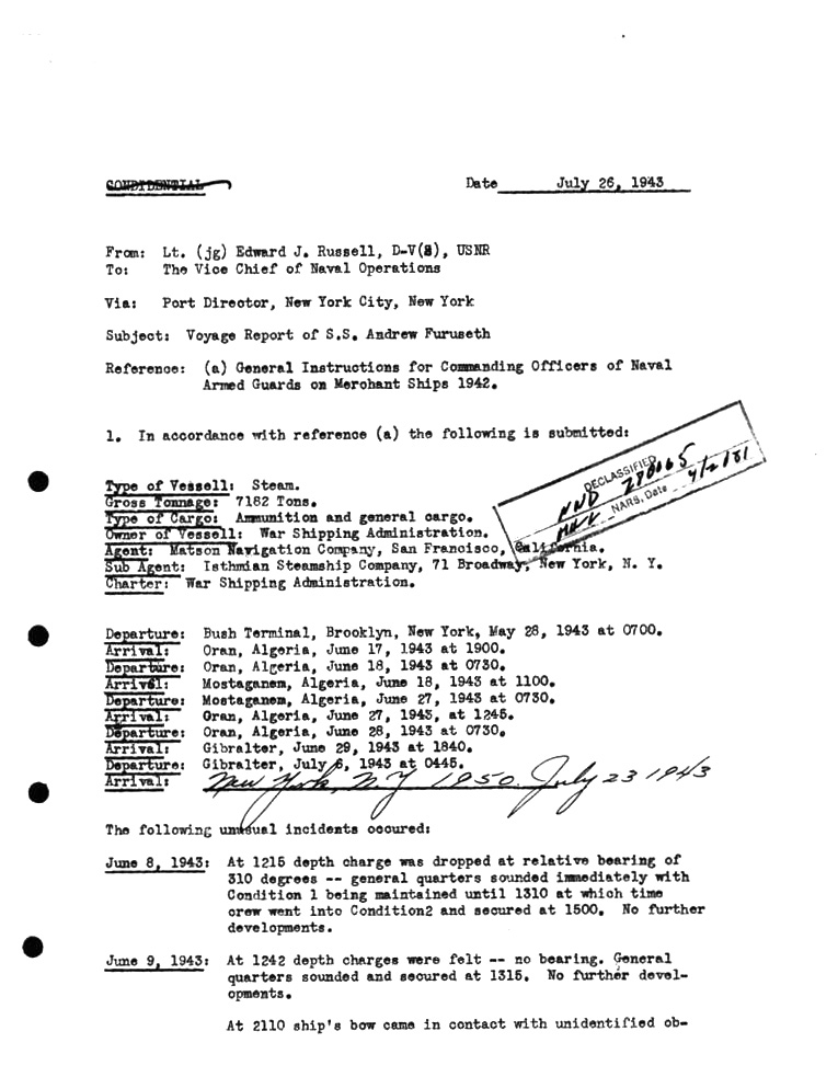 SS Furuseth Movement Report July-26th-1943
