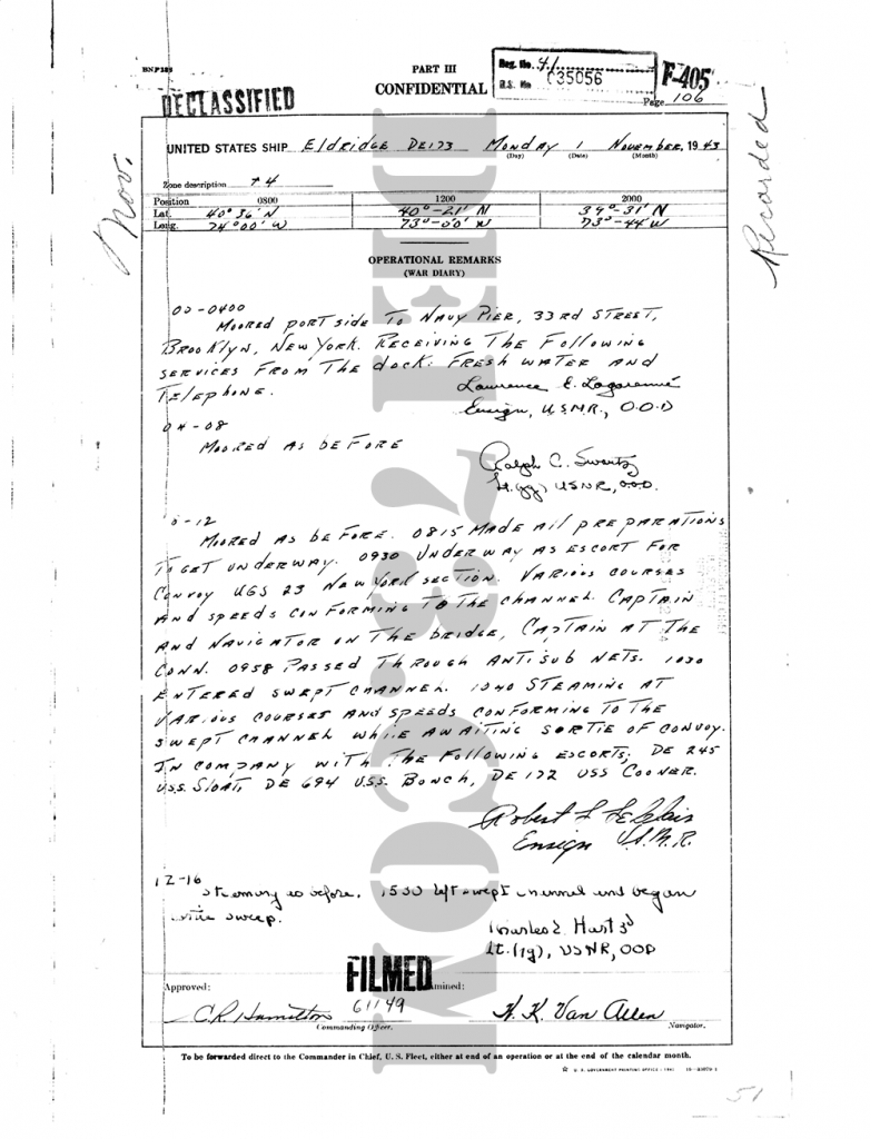 USS Eldridge Microfilm Page 106 / November 1, 1943
