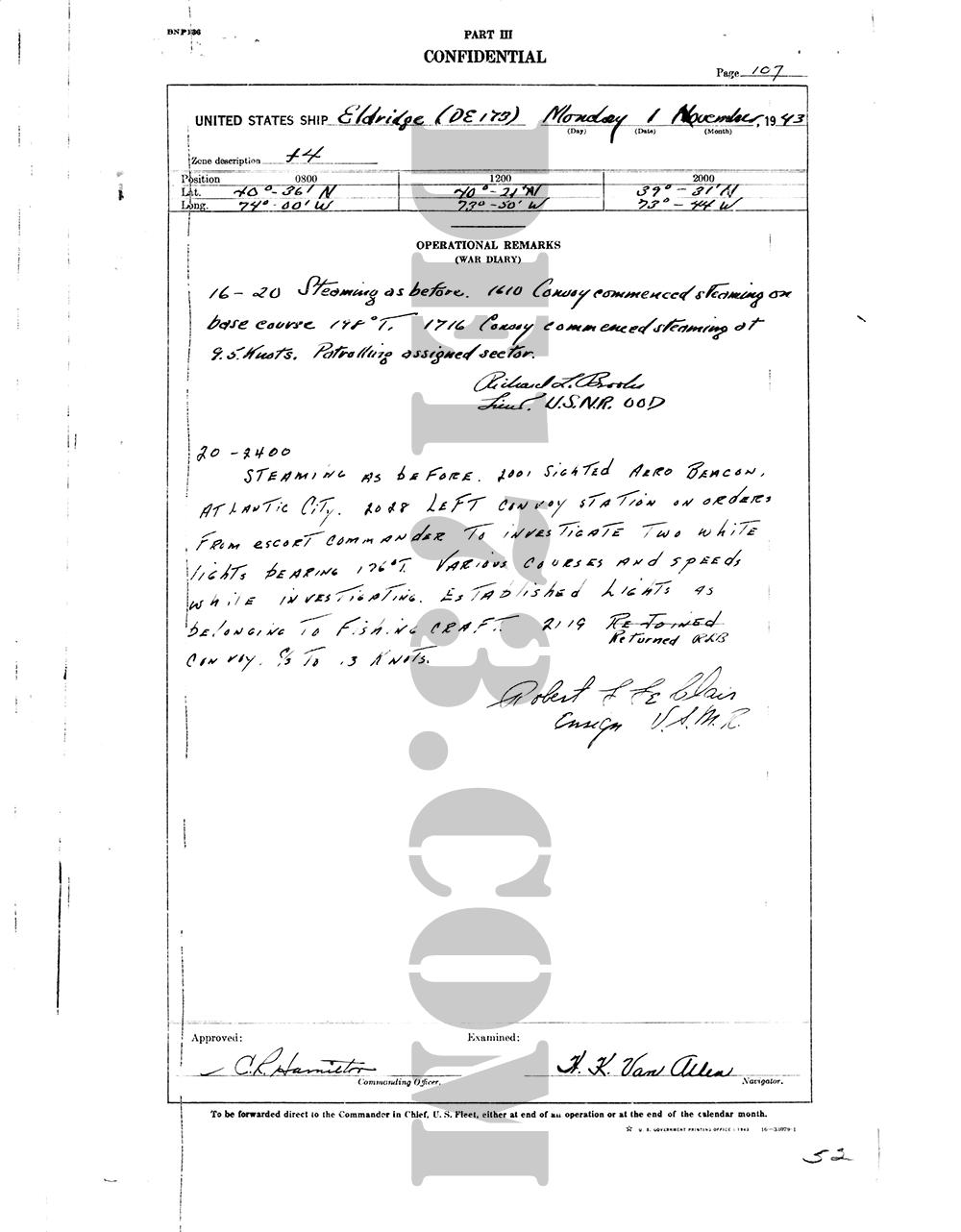 USS Eldridge Microfilm Page 107 / November 1, 1943