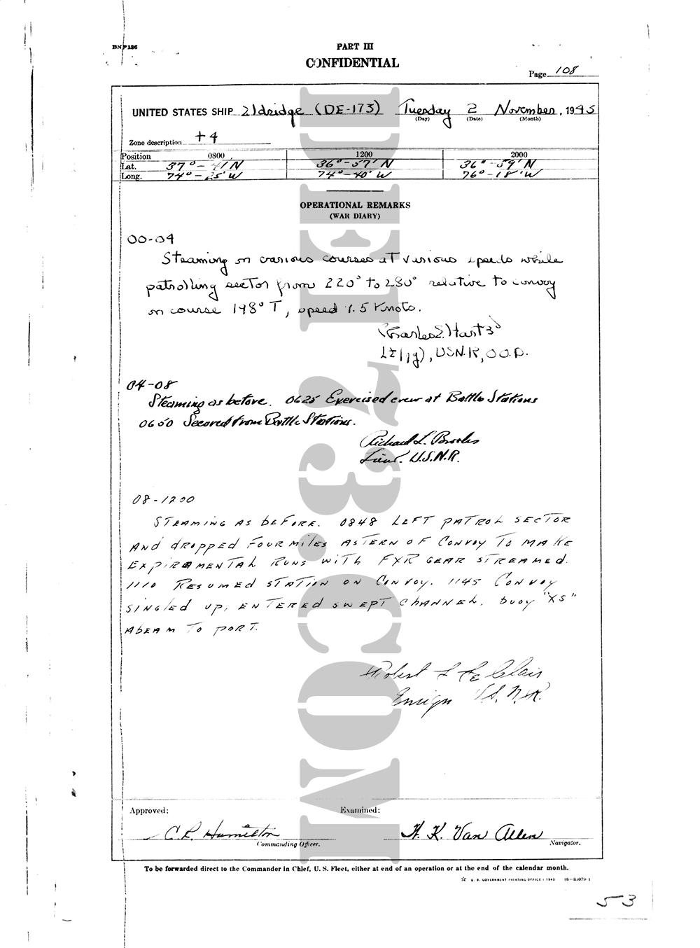 USS Eldridge Microfilm Page 108 / November 2, 1943