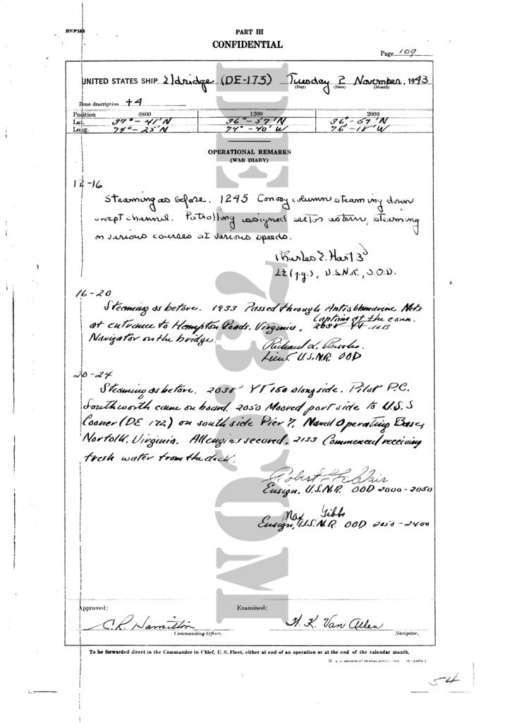 USS Eldridge Microfilm Page 109 / November 2, 1943