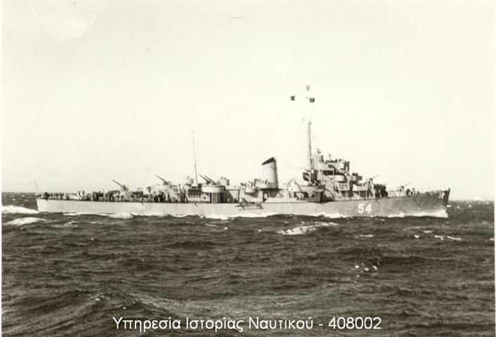 Eldridge Serving in the Greek Navy as the HNS Leon D54, 1952