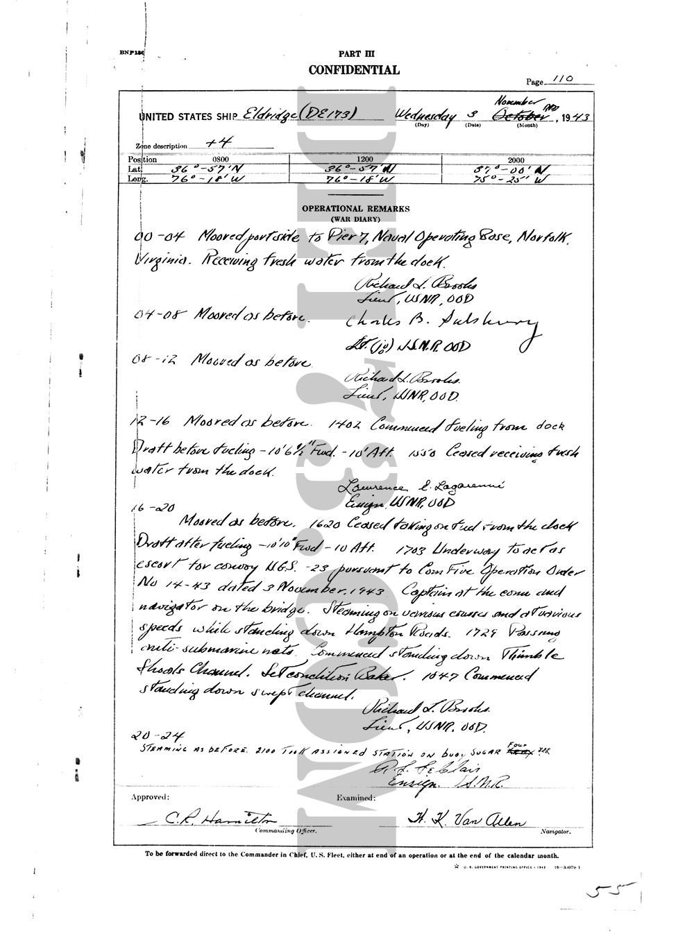 USS Eldridge Microfilm Page 110 / November 3th, 1943