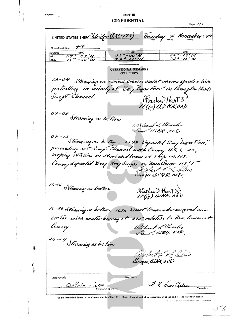 USS Eldridge Microfilm Page 111 / November 4th, 1943