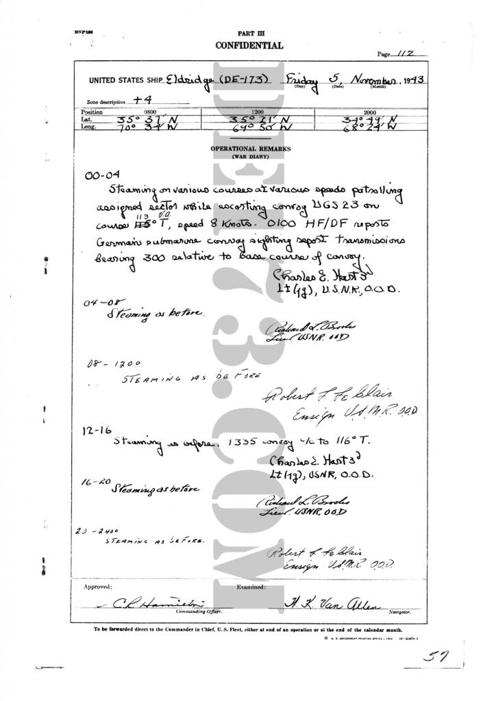 USS Eldridge Microfilm Page 112 / November 5th, 1943