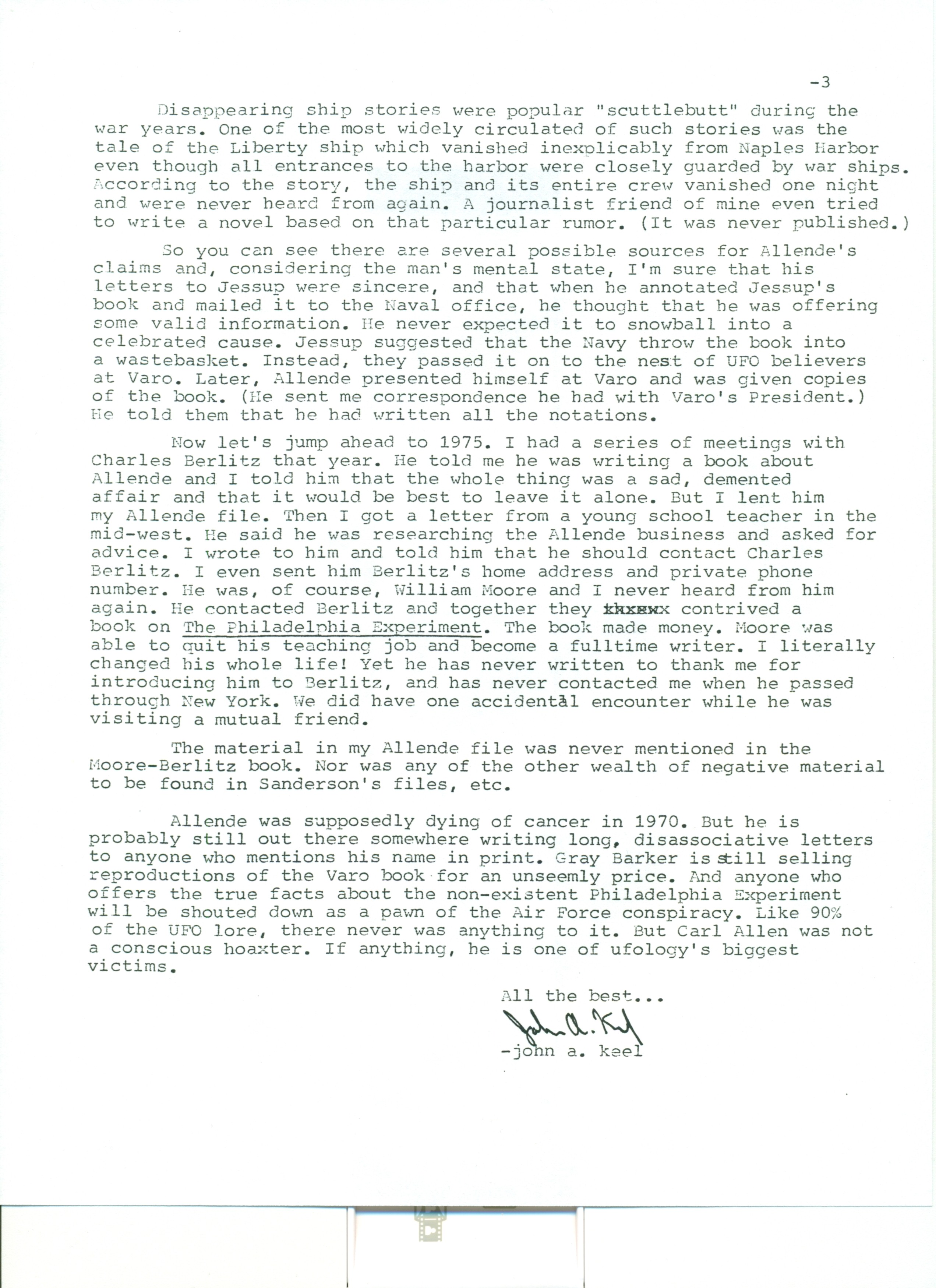 August 10, 1983 ~ Unsolicited Confession From John A. Keel about The Philadelphia Experiment of 1943