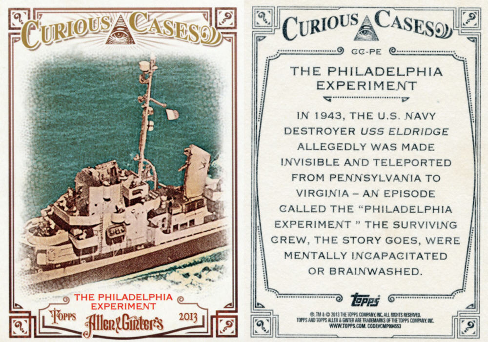 2013 Topps Allen and Ginter's-Curious Cases #CC-PE The Philadelphia Experiment