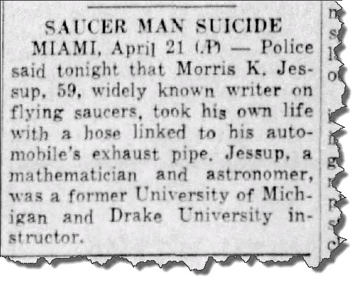 """Saucer Man Suicide"" ~ ""Fort Myers News-Press"" on Wed Apr-22, 1959"