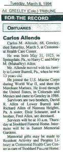 Carl Allen March 8th 1994 (Obituarie)